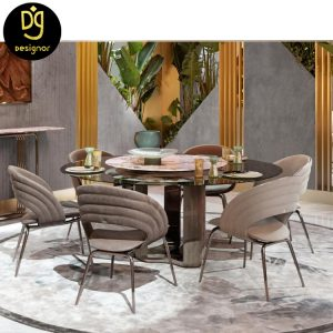 Custom made stainless steel dining chairs