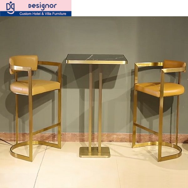 Factory custom made stainless steel bar chair and marble table furniture set