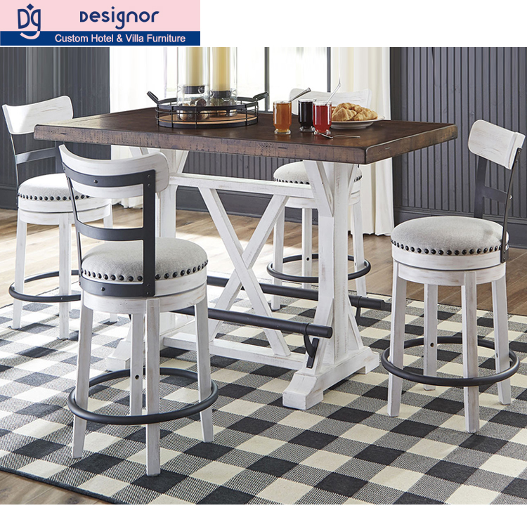 Custom made solid wood high bar stool and table furniture set
